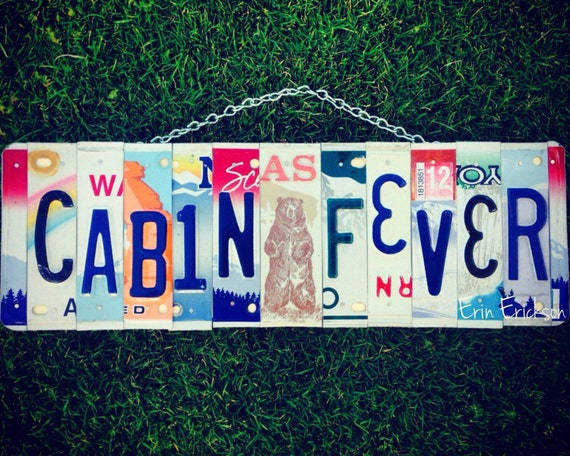 License Plate Sign Art, Gift for Him, Cabin Decor, Fathers Day Gift, License Plates, Gift for Dad, Mens Birthday Gift, Cabin Signs, Bear Art