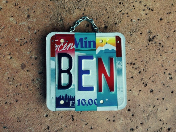 Handmade. Boys. Name. Ben. License plate. Boys room. Nursery decor. Car decor . Forhim. Giftidea.