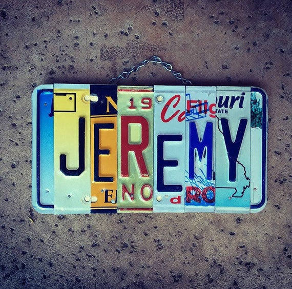 Name Sign, Name Plate, Gift for Men, Jeremy, License Plate, Custom Gifts, Car Stuff for Guys, Nursery Decor.