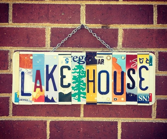 Lake House Sign, Lake House Decor, Lake House Gift, Lake House  Housewarming Gift, Gift for Lake House, Cabin Decor, License Plate Sign.