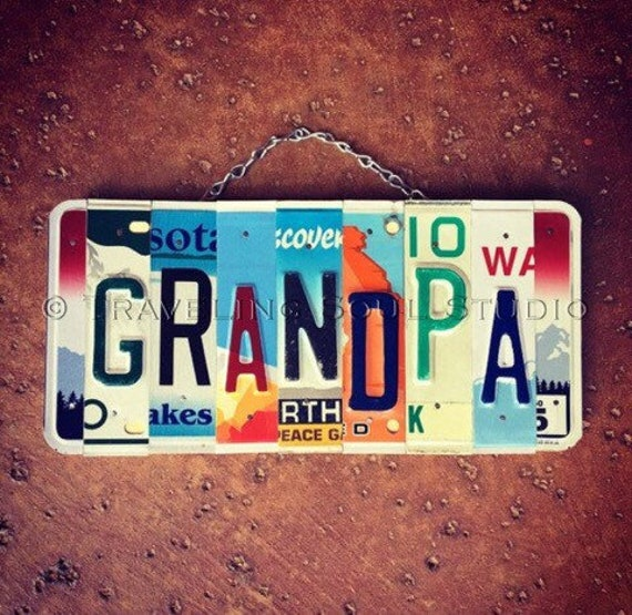 Grandpa Gift, License Plate Sign, Grandpa Sign, Birthday Gift for Grandpa,  Personalized Wood Sign, Garage Decor.