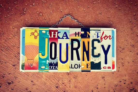 Journey Sign, License Plate Art, Travel Decor, Van Life Gift, Inspirational Sign, Hot Air Balloon, Recycled License Plate, Quotes on Signs.