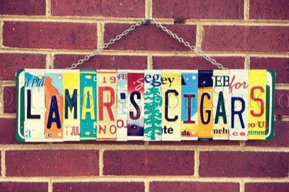 Personalized License Plate Cigar Sign, Cigar Bar Sign, Cigar Bar Decor, Personalized Gift for Dad, Gift for Smoker, Anniversary Gift Idea