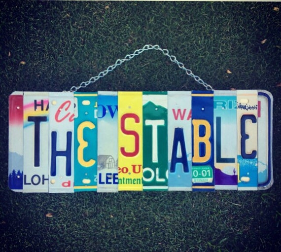 Equestrian Gifts. Stable Sign. Equestrian Decor. Farmhouse Sign. Equestrian Art. Stable House. Horse Decor. Horse Art. License Plate Art.