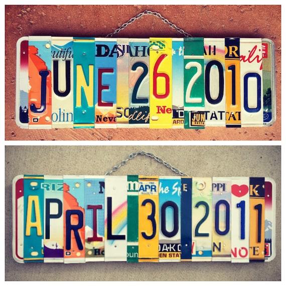Ten Year Wedding Anniversary Gift, Anniversary Gift for Boyfriend Husband, Wedding Gifts, Save the Date Sign, License Plate Art, Birthdate