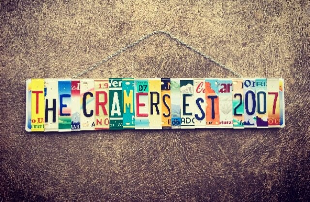 10 year anniversary gift recycled license plate art gift for him