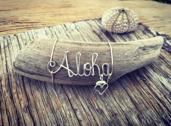 Aloha Maui Driftwood Beach Decor,  Made in Hawaii, Driftwood Pieces, Beach Gifts, Wire Word Art, Gift for Mom
