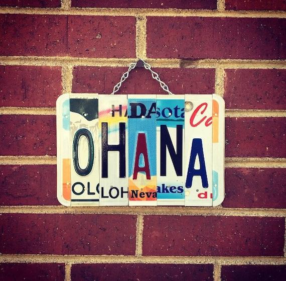 Ohana Sign, Gift for Mom, Beach Decor, Hawaiian Decor, Hawaiian Gifts, Family Sign, Maui Art, License Plate Art