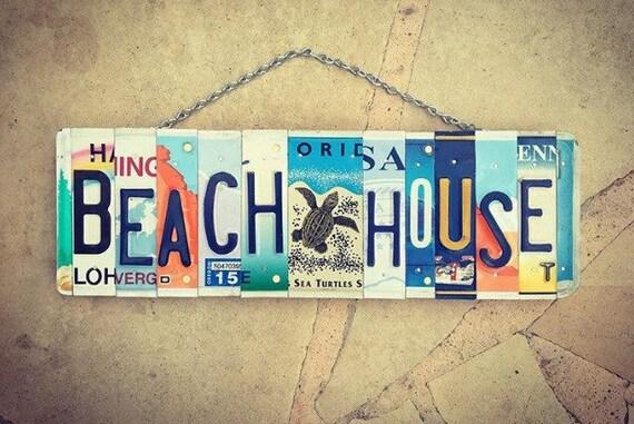 Nautical Sea Turtle Beach House License Plate Art Sign, Beach House Decor, Beach House Warming Gift, Beach House Sign, License Plate Art.
