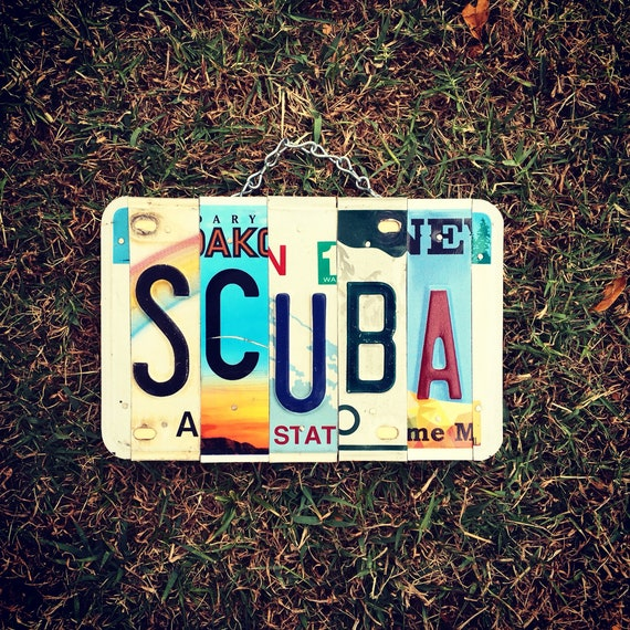 Diving Gifts, License Plate Art, Scuba, Gift for Dad, Made in Hawaii, Retirement Gift, Beach House Decor, Upcycled
