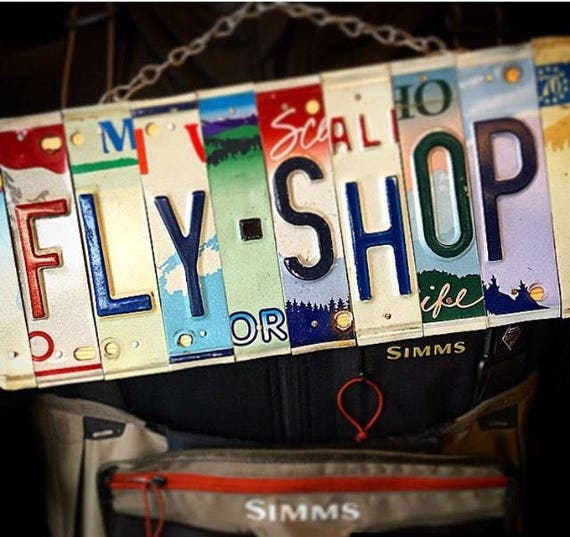 Fly Fishing Fly Shop License Plate Sign, License Plate Art - Fly Fishing Gifts, Retirement Gift idea, Fathers Day, For Him, Fishing Decor