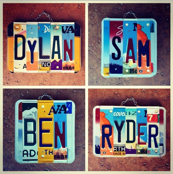 Personalized Boys Room Car Theme License Plate Name Art Sign, Boys Room Decor, Birthday Gift for Boys, Boys Name Sign, Personalized Gifts.