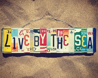 Live By The Sea. -beachdecor -homedecor -anchor -nautical -art -giftidea -beachsign