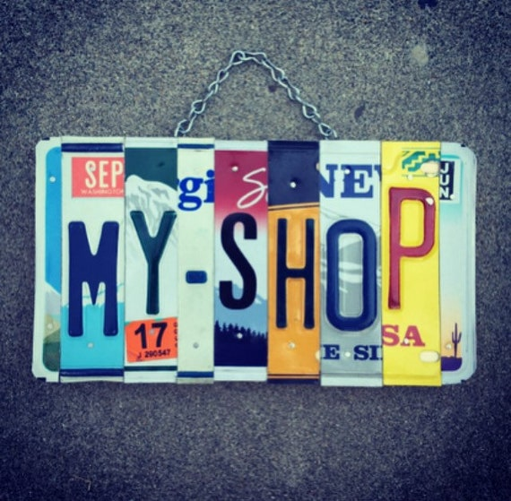 Recycled License Plate Automotive Garage Sign, Garage Decor, Shop Sign, Gifts for Him, Birthday Gift for Mechanic, License Plate Art.