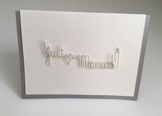 Just Married Greeting Card, Wedding Card, Just Married Gift, Gift for Wedding Couple, Wire Art, Wedding Gift.