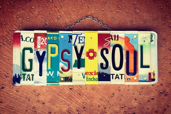 Gypsy Soul License Plate Art Sign, Bohemian Wall Hanging, Van Life Gift, Rv Decor, Recycled Art, Hippie, License Plate Sign, Travel Decor.