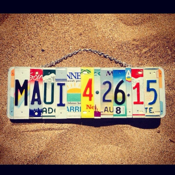 Valentines Day Gift - 10 Year Anniversary Gift - Recycled License Plate Art - Maui - Gift for Him - Gift for Her - Tin Anniversary Gift