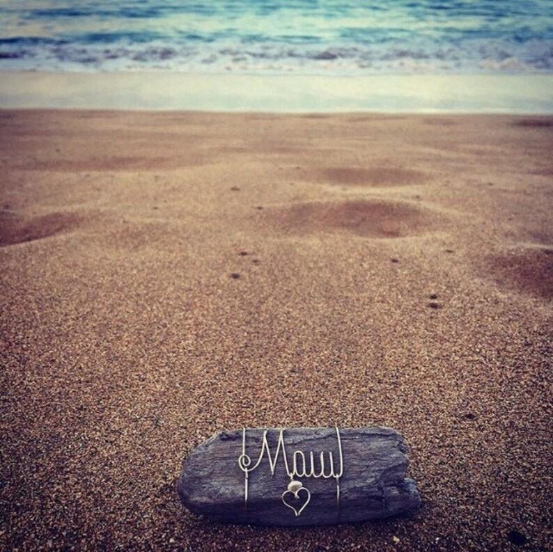 Maui Art Wire Names Beach Gifts Driftwood Puka Shells Hawaiian Maui Puka Shells Beach Driftwood Wire Art Ocean Decor Made in Hawaii