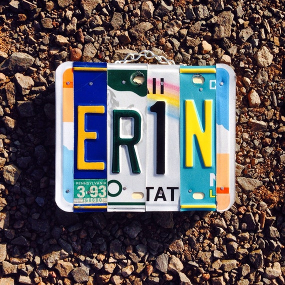 Erin. Irish. Girls name. Girls room. Hawaii. Colorado. Maui. License plate. Rainbow. St patricks day. Personalized. Name. Room decor. Name