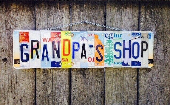 Fathers Day, Grandpa Gift, Fathers Day Gift, Gift for Grandpa, License Plate Art, Home Decor, Garage Sign, License Plates.