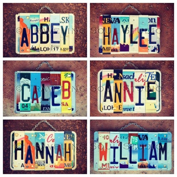 Personalized Name License Plate Dorm Room Sign, College Dorm Decor, Dorm Wall Art, Back to School Teacher Gifts, License Plates, Custom Name