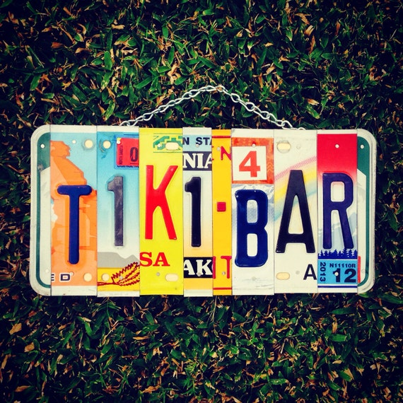 Tiki. Bar. Sign. Recycled. License plates. Home decor . Hawaii. Travel. Vacation. Maui. Beer. Dad. Christmas