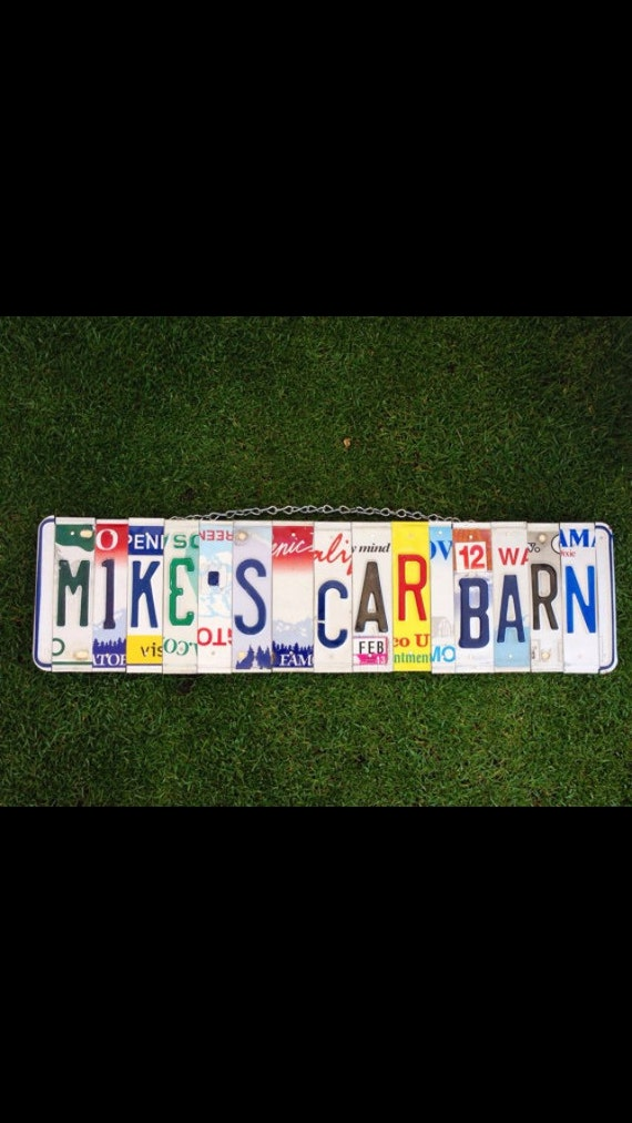 Car. Barn. Classic car. Shop. Garage. Mens gift. For him. Birthday. Mancave. Christmas. Dad. License plate. sign