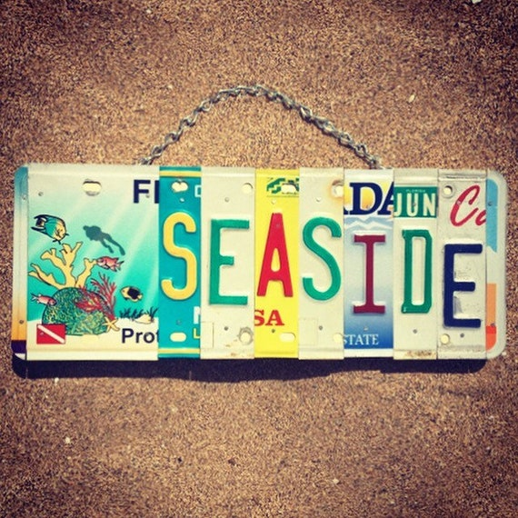 Beach Decor. Mothers Day Gift. Seaside Sign. Beach House Gift. License Plate Art. Beach House Decor.