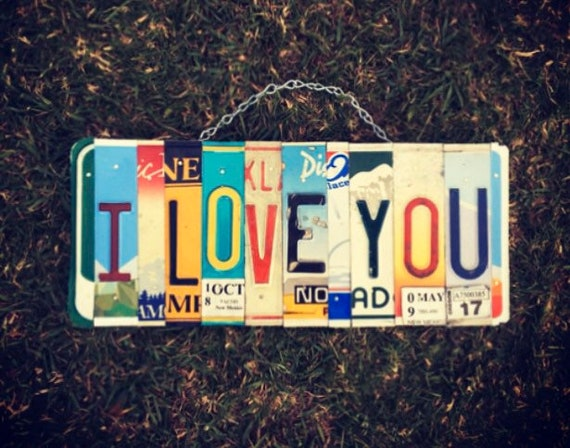 I Love You License Plate Sign, Anniversary Gift, Valentines Day Decor, I Love You Bedroom Wall Hanging, I Love You Sign, License Plate Art