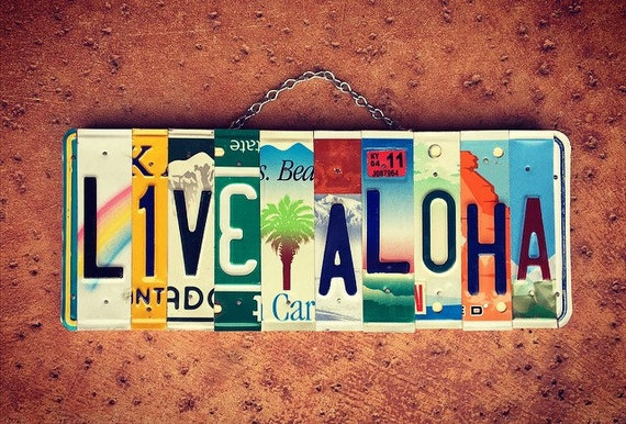 Tropical Live Aloha Palm Tree License Plate Sign, License Plate Art, Made in Hawaii, Beach Decor, Birthday Gifts for Her, Live Aloha Sign.