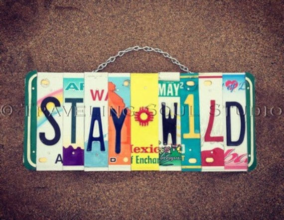 Stay Wild Bohemian License Plate Sign, License Plate Art, Hippie Sign, Gift for her, Bohomian Decor, Hippie Decor, License Plate Art