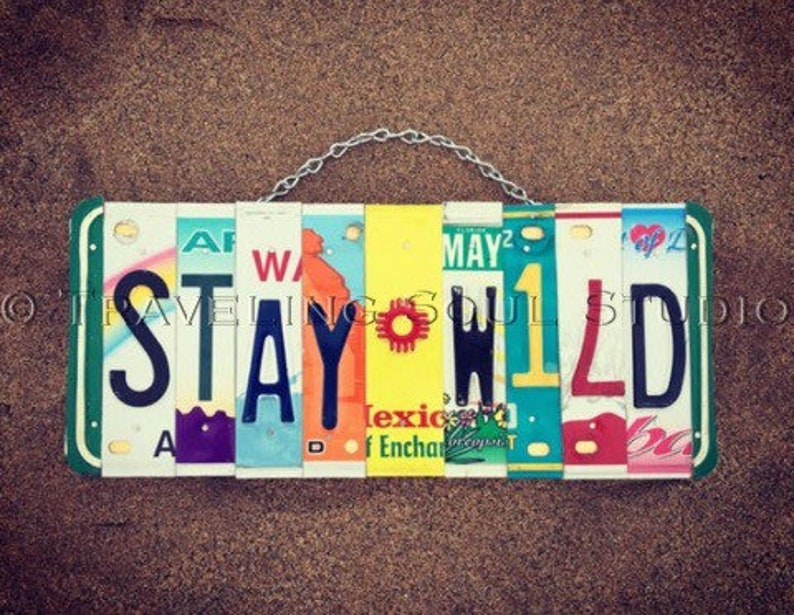 Stay Wild Bohemian License Plate Sign License Plate Art image 0