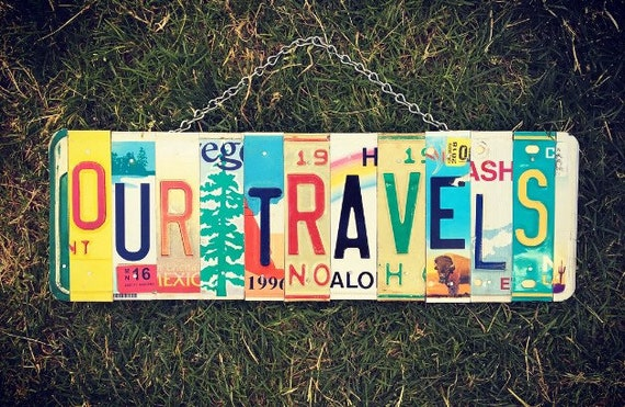Travel Art, Travel Decor, Travel Gift, License Plate Art, Travel Momento, Travel Sign, Traveller Gift, United States Gift Idea. Travel Souve