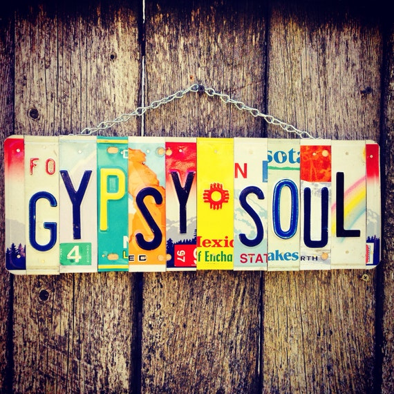 Boho Outdoor Decor- Gypsy Soul License Plate Sign- Bohemian Wall Hanging- Gift for Hippie- License Plate- Made in Usa- Decor for Teen Bedroo