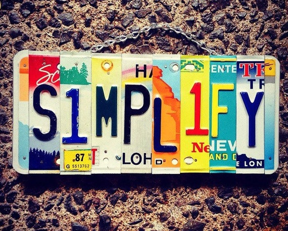 Simplify Motivational Wall Decor License Plate Art Sign, Simplify Sign, Yoga Art, Gift for Friend, License Plate Art, Wall Hanging.