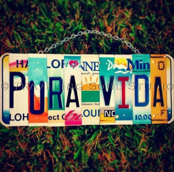 Pura vida. License plate. Sunshine. Hawaii. Costa rica . Sign. Custom. Beach