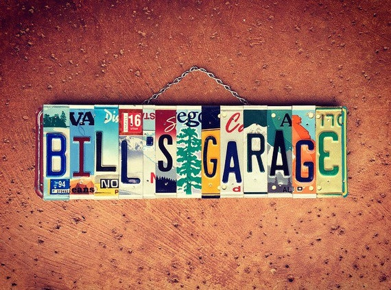 Personalized Name License Plate Garage Sign, Mens Birthday Gift Idea, Gift for Mechanic, Mancave Decor, Custom Name, License Plate Art
