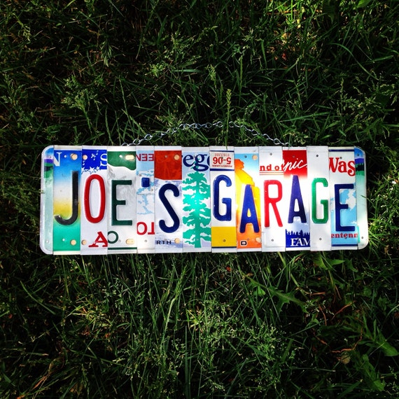 Personalized Gift for Dad, Garage Sign, License Plate Sign, Joe's Garage, Men's Birthday, Garage Decor