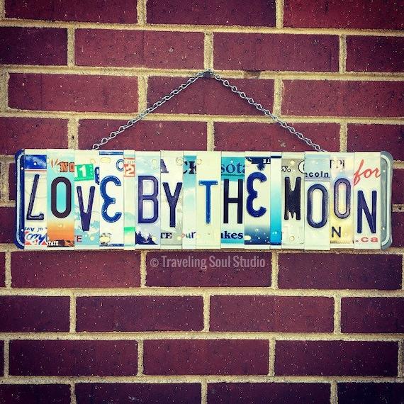 Love By the Moon Sign, Bohemian Decor, Boho, Hippie Art, HomeDecor, License Plate Art, Teen  Gift