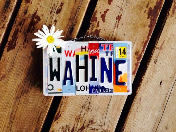 Made in Hawaii. License plate art. Custom sign. Travel. Girls. Rainbow. Love. Maui. Wall hanging. Teen
