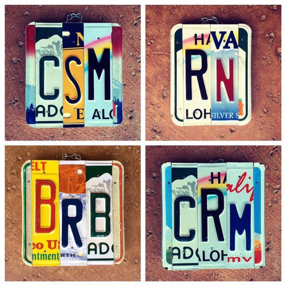 Name Initials License Plate Sign, Wedding Initials Sign, Personalized Initials Gifts, Dorm Room Decor, Gift for Graduates.