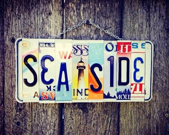 Sea Side Beach House License Plate Art Sign, Light House Wall Art,  Gift for Beach Lover, Beach House Decor, License Plate Signs, Sea Side