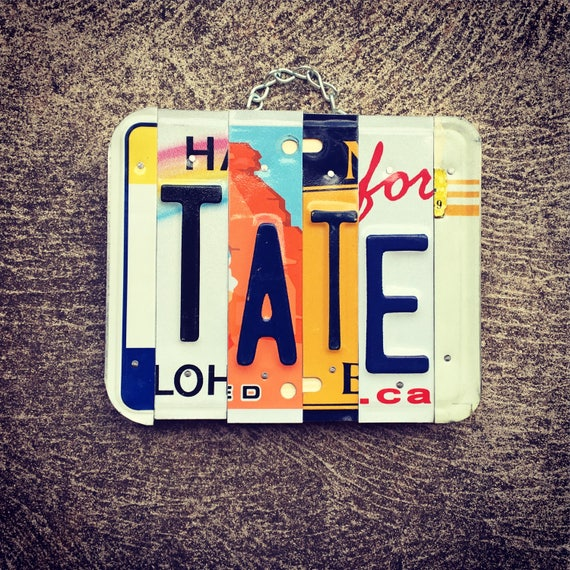TATE License Plate Art - Gift for him - eco friendly - boys room decor - bachlor pad - license plate - custom name