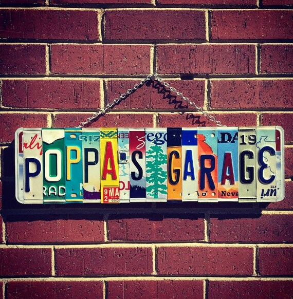 Gift for Grandpa, Grandpa Birthday Gift, Gift for papa poppa baba grandpa papaw, Garage Sign, License Plate Art, Retirement Gift,