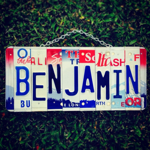 Usa. Red. White. Blue . Boys. License plate. Sign. Car. Roomdecor. Forhim. Custom. Handmade. Travel. Name. Personalized