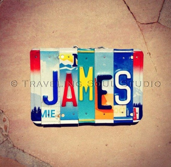 License Plate Art - Gift for him - eco friendly - boys room decor - bachlor pad - recycled license plates - custom name