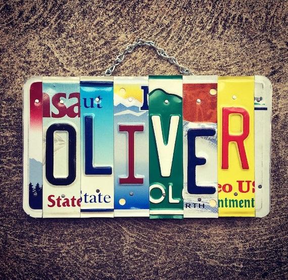Oliver License Plate Art Valentines Day Gift For Him Mens Etsy