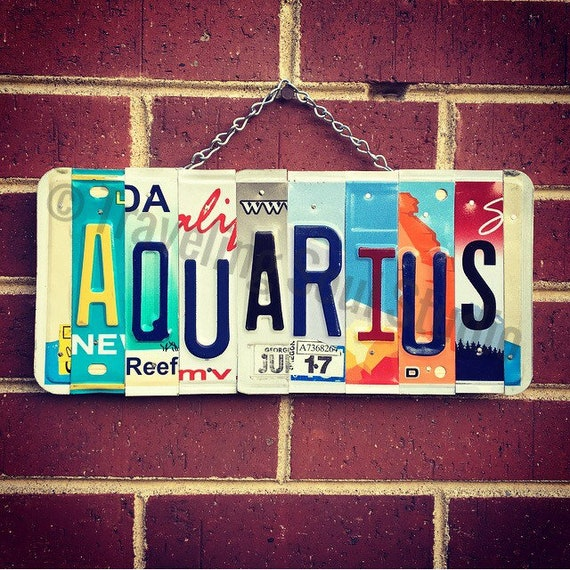 Aquarius License Plate Sign, Aquarius Gifts, Astrological Signs, Birthday Gift Ideas, Zodiac Sign Art, January Birthday Gifts