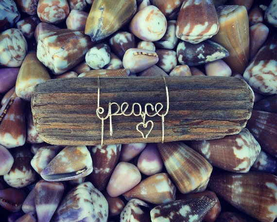 Peace Recycled Beach Driftwood Wire Art Hawaii Keepsake, Peace Boho Decor, Hippie Gifts, Beach Art, Made in Hawaii, Driftwood, Words on Wood