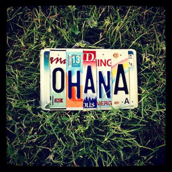 OHANA License Plate Art - Made in Hawaii - Hawaii Art - Ohana Sign - Beach Decor - Beach House Art - Recycled License Plates - Eco Friendly